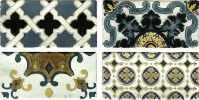 Керамическая плитка Arezzo Oro Conjunto Комплект декоров из 4 плиток 75х150 мм 75х600 мм