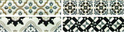 Керамическая плитка Arezzo Oro Conjunto Комплект декоров из 4 плиток 75х300 мм 150х600 мм