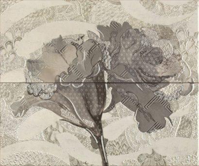 Керамическая плитка Frades Conjunto Floral Gris Панно комплект из 2 плиток 250х600 мм 500х600 мм