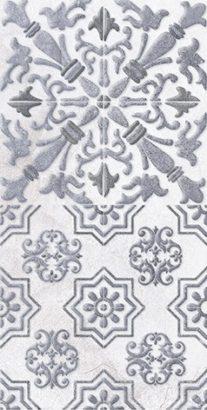 Керамическая плитка Кампанилья Декор 1 серый 1641-0091 20х40