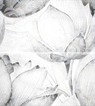 Керамическая плитка Каррарский Мрамор Панно цветы 1609-0019 45х50 (компл. из 2-х шт)