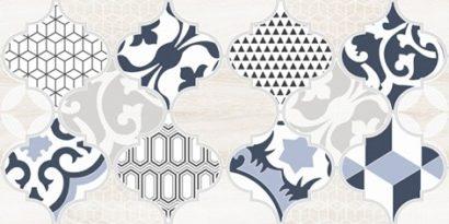 Керамическая плитка Мореска Декор 1 синий 1641-8629 20х40