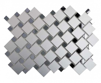 Плитка мозаика Мозаика зеркальная Серебро матовое + Графит См70Г30 ДСТ 25х25 и 12х12 300 x 300 мм (10шт) - 0