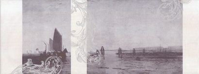 Керамическая плитка Ньюпорт Декор Корабли фиолетовый STG C208 15010 15x40