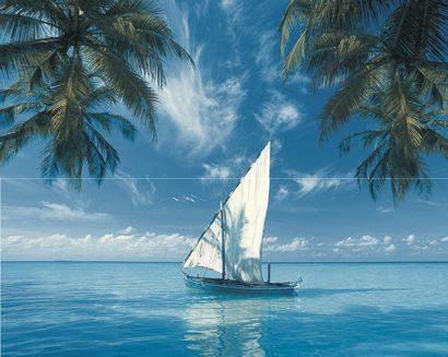 Керамическая плитка Ocean Sailboat Панно из 2-х плиток 40x50
