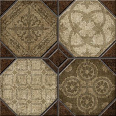 Керамическая плитка Шале 3Д Керамогранит бежевый декор 40х40