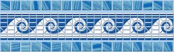 Керамическая плитка Reef Бордюр синий (C-RF1A031) 6×20