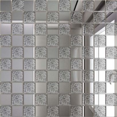 Керамическая плитка Мозаика зеркальная Серебро + Хрусталь С50×50 ДСТ 25 х 25 300 x 300 мм (10шт) - 0