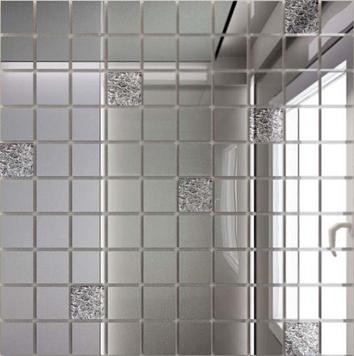 Керамическая плитка Мозаика зеркальная Серебро + Хрусталь С90×10 ДСТ 25 х 25 300 x 300 мм (10шт) - 0