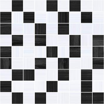 Керамическая плитка Stripes Мозаика чёрный+серый 30×30
