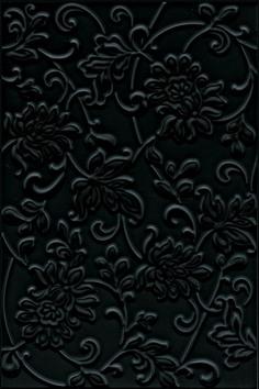 Керамическая плитка Аджанта Плитка настенная цветы черный 8217 20×30