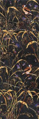 Керамическая плитка Астория Декор Птицы черный обрезной SST A01 12000R 25×75