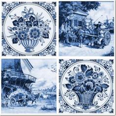 Керамическая плитка Фландрия голубой Декор 14-03-61-136-3 20×20