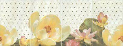 Керамическая плитка Летний сад Панно фисташковый из 4 частей HGD C56 4x 8261 30×80