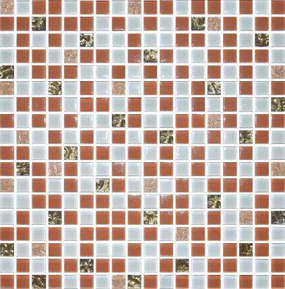 Плитка мозаика Мозаика стекло № 1026 микс бежевый-золото 300×300 15 6