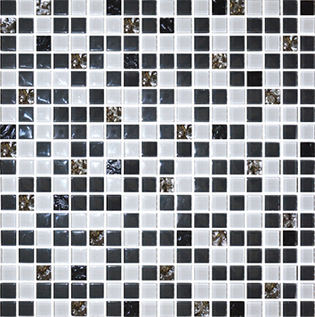 Плитка мозаика Мозаика стекло № 1028 микс черный - платина  300×300 15 6