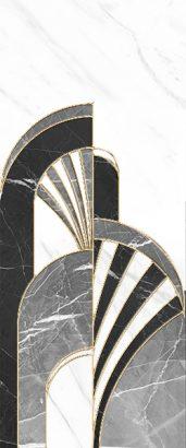 Керамическая плитка Noir Декор  черный  01 25×60
